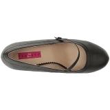 svart kunstlær 11,5 cm PINUP-01 store størrelser pumps sko