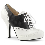 svart kunstlær 11,5 cm PINUP-07 store størrelser oxford sko