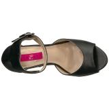 svart kunstlær 12,5 cm EVE-02 store størrelser sandaler dame