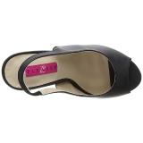 svart kunstlær 12,5 cm EVE-04 store størrelser sandaler dame
