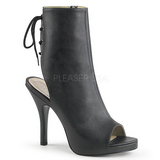 svart kunstlær 12,5 cm EVE-102 store størrelser ankelstøvletter dame