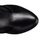 svart kunstlær 12,5 cm EVE-312 overknee støvler brede lægge