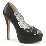 svart kunstlær 13,5 cm BELLA-30 dame pumps sko med åpen tå