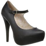 svart kunstlær 13,5 cm CHLOE-02 store størrelser pumps sko
