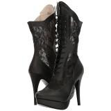 svart kunstlær 13,5 cm CHLOE-115 store størrelser ankelstøvletter dame