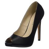 svart kunstlær 13 cm SEXY-42 klassiske pumps sko til dame