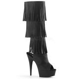 svart kunstlær 15 cm DELIGHT-2019-3 høye støvletter med frynser til dame