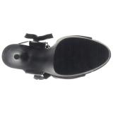 svart kunstlær 15 cm DELIGHT-600-14 pleaser platåsandaler for kvinner