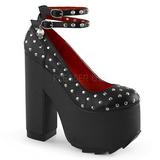 svart kunstlær 16 cm CRAMPS-06 gothic pumps sko dame