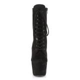 svart kunstlær 18 cm ADORE-1020FS ankelstøvletter med snøring