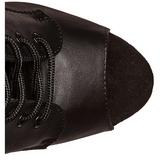svart kunstlær 18 cm ADORE-1021 ankelstøvletter med platåsåle til dame