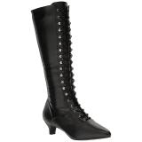 svart kunstlær 5 cm FAB-2023 store størrelser støvler dame