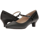 svart kunstlær 5 cm FAB-425 store størrelser pumps sko