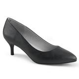 svart kunstlær 6,5 cm KITTEN-01 store størrelser pumps sko