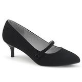 svart kunstlær 6,5 cm KITTEN-03 store størrelser pumps sko