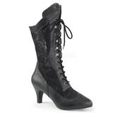svart kunstlær 7,5 cm DIVINE-1050 store størrelser ankelstøvletter dame
