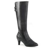 svart kunstlær 7,5 cm DIVINE-2018 store størrelser støvler dame