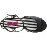 svart kunstlær 7,5 cm JENNA-09 store størrelser sandaler dame