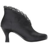svart kunstlær 7,5 cm JENNA-105 store størrelser ankelstøvletter dame