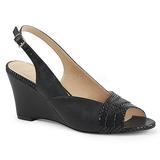 svart kunstlær 7,5 cm KIMBERLY-01SP store størrelser sandaler dame