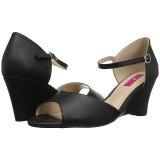 svart kunstlær 7,5 cm KIMBERLY-05 store størrelser sandaler dame