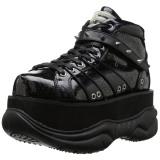 svart kunstlær 7,5 cm NEPTUNE-100 platå gotisk sko til menn