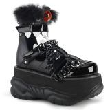 svart kunstlær 7,5 cm NEPTUNE-150 platå gotisk sko til menn