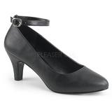 svart kunstlær 8 cm DIVINE-431W dame pumps sko flate hæl