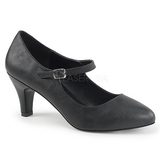 svart kunstlær 8 cm DIVINE-440 dame pumps sko flate hæl