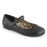svart kunstlær ANNA-02 store størrelser ballerina sko