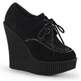 svart kunstlær CREEPER-302 wedge creepers sko med kilehæler