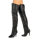svart lær 10,5 cm LEGEND-8868 lårhøye støvler til menn