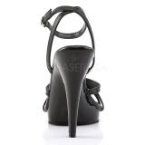 svart lær 12 cm FLAIR-436 high heels sko til menn
