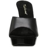 svart lær 14 cm COCKTAIL-501L høyhælte slipper damer sko