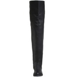 svart lær 4 cm MAVERICK-8824 lårhøye støvler til menn