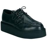 svart lær 5 cm CREEPER-402 platå creepers sko til menn