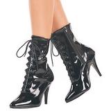 svart lakk 10,5 cm VANITY-1020 flate ankelstøvler dame