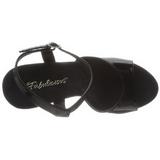 svart lakk 13 cm COCKTAIL-509 platå høyhælte sandaler sko