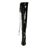 svart lakk 13 cm ELECTRA-3050 lårhøye støvler