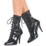 svart lakk 13 cm SEDUCE-1020 flate ankelstøvler dame