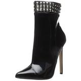 svart lakk 13 cm SEXY-1006 flate ankelstøvler dame