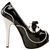 svart lakk 14,5 cm Burlesque BORDELLO TEEZE-01 platå pumps høy hæl
