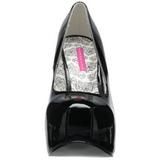 svart lakk 14,5 cm Burlesque BORDELLO TEEZE-06 platå pumps høy hæl