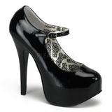 svart lakk 14,5 cm Burlesque BORDELLO TEEZE-07 platå pumps høy hæl