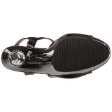 svart lakk 14 cm ALLURE-609 høye stiletthæler platå