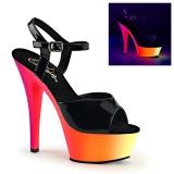svart lakk 15,5 cm RAINBOW-209UV høyhælte sandaler neon platå