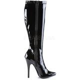 svart lakk 15 cm DOMINA-2000 høye hæler støvler dame