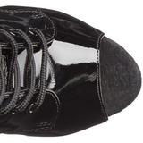 svart lakk 18 cm ADORE-1021 ankelstøvletter med platåsåle til dame