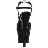 svart lakk 18 cm Pleaser MOON-709 platå høye hæler sko