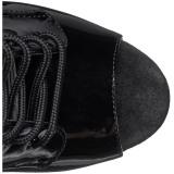 svart lakk 20 cm FLAMINGO-1021 ankelstøvletter med platåsåle til dame